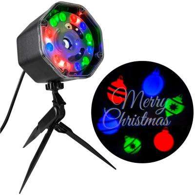Multi-Color Projection Plus JingleMingle Merry Christmas with Ornaments Stake