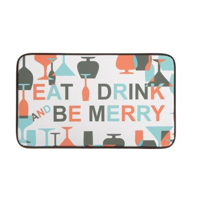 Merry Wine 18 in. x 30 in. Faux Leather Anti Fatigue Gelness Kitchen Mat