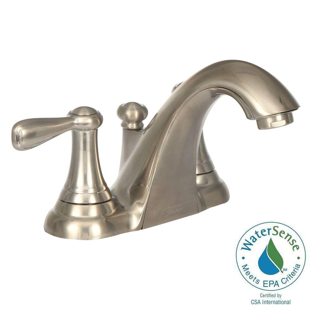 American Standard Marquette 4 In Centerset 2 Handle Low Arc Bathroom Faucet Brushed
