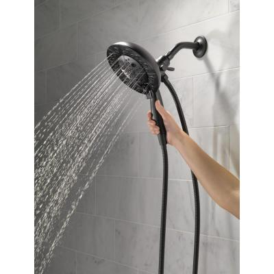In2ition Two-in-One 5-Spray 6.9 in. Dual Wall Mount Fixed and Handheld H2Okinetic Shower Head in Matte Black