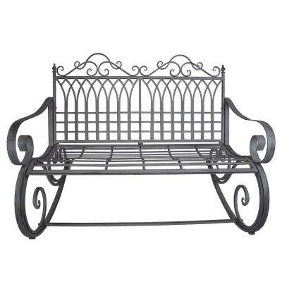 Ornate Traditional Iron and Steel Outdoor Patio Porch Garden Rocking Bench Loveseat in Antique Grey