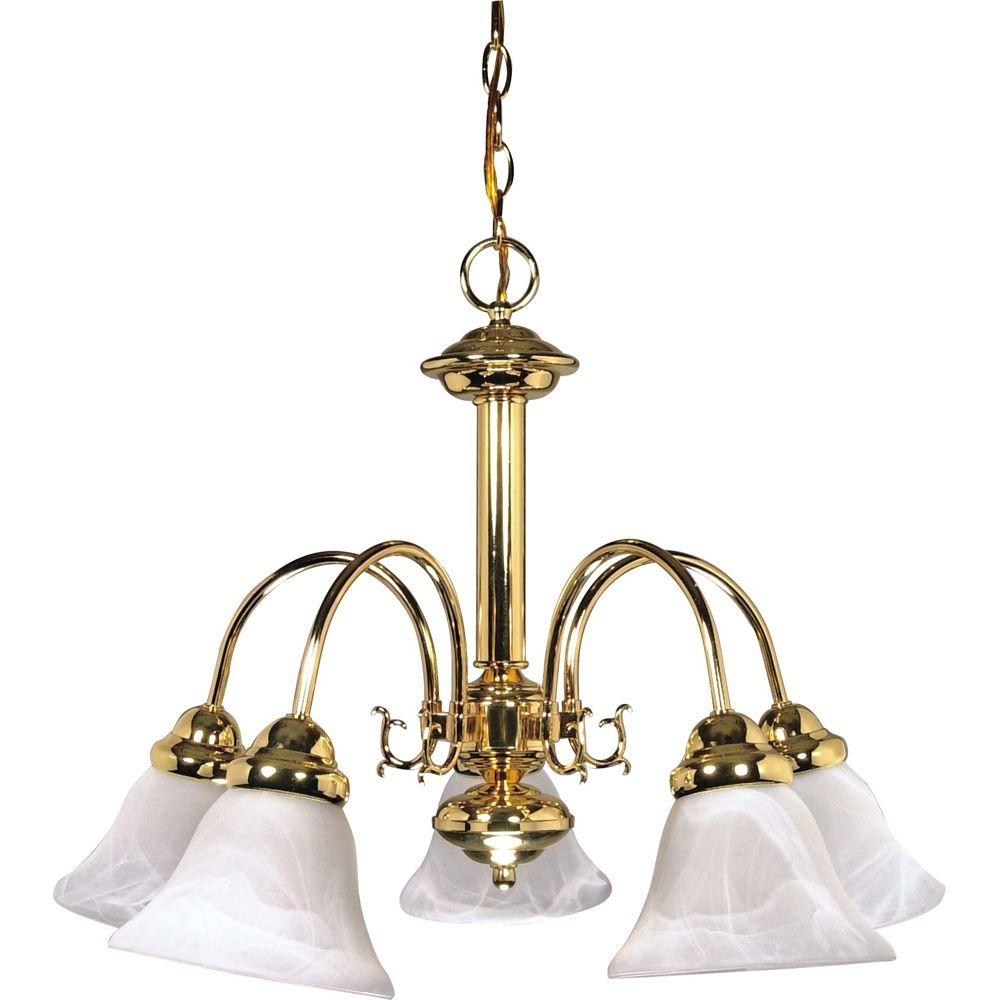 Sophrosyne 5 Light Polished Brass Chandelier With Alabaster Glass