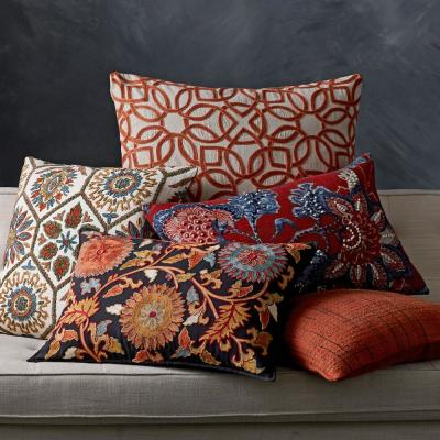 Embroidered Multicolored Flower 16 in. x 24 in. Decorative Throw Pillow Cover