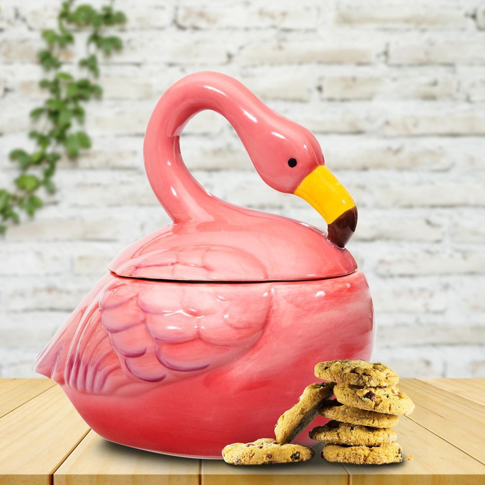 2-Piece Flamingo Cookie Jar