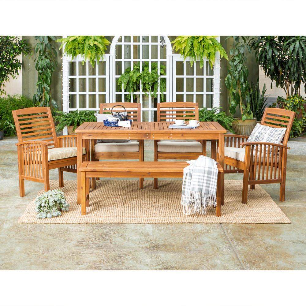 Walker Edison Furniture Company 6-Piece Brown Outdoor Classic Traditional  Contemporary Acacia Wood Simple Patio Dining Set with White Cushion