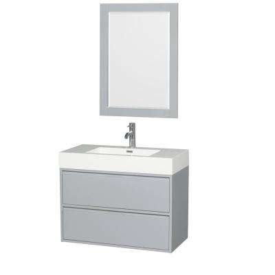 Daniella 35.3 in. W x 18 in. D Vanity in Dove Gray with Acrylic Vanity Top in White with White Basin and 24 in. Mirror