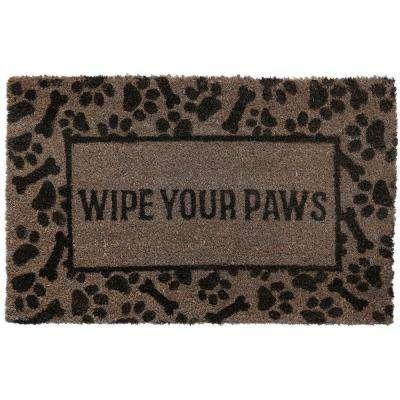 Comfy Pooch Wipe Your Paws Gray 18 in. x 28 in. Coir Mat