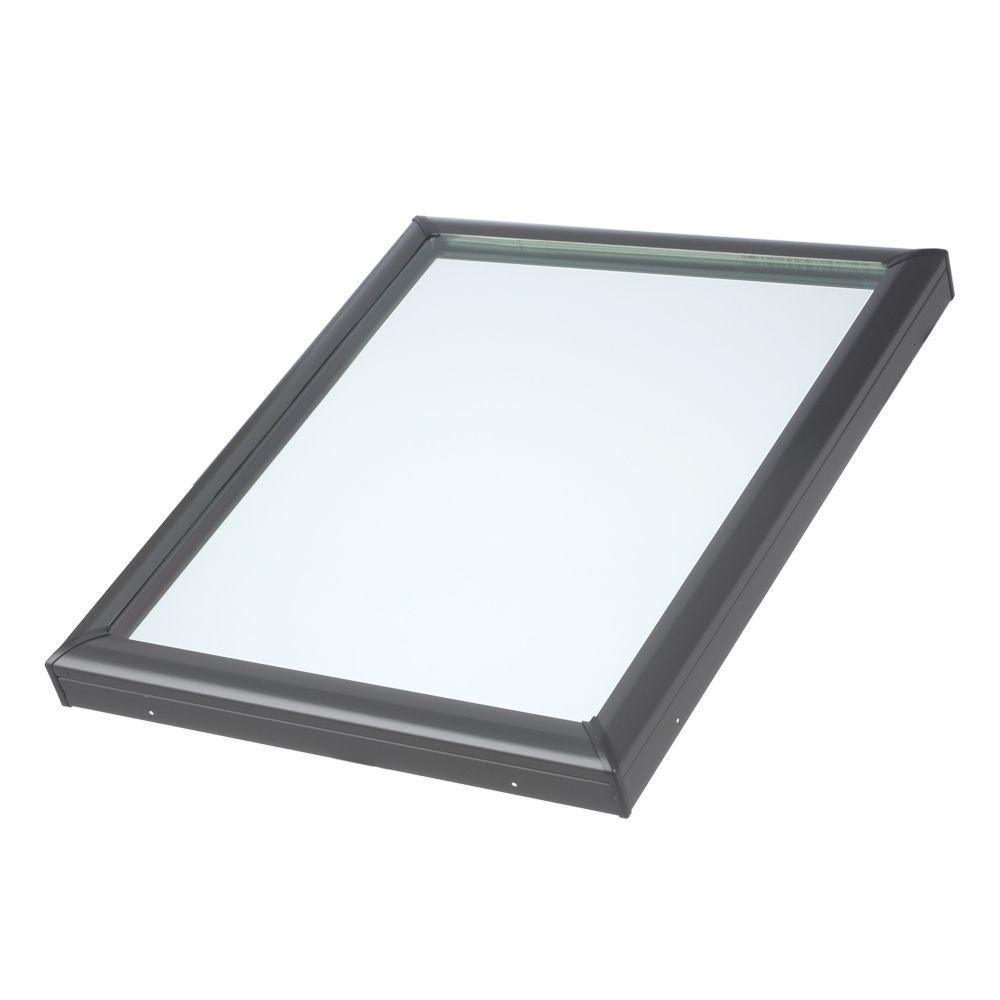 VELUX 22-1/2 in. x 22-1/2 in. Fixed Curb-Mount Skylight with Tempered Low-E3 Glass ECL Flashing