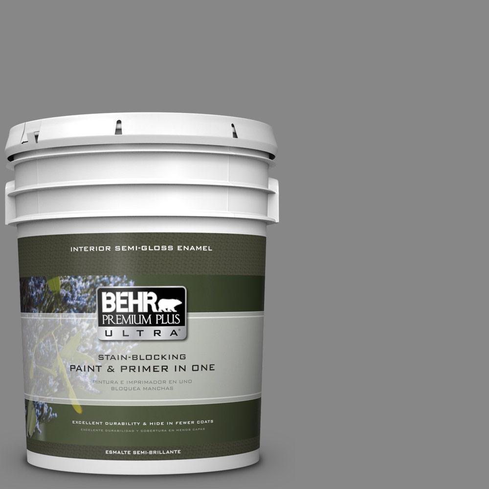 5 gal. #PPU26-04 Falcon Gray Semi-Gloss Enamel Interior Paint