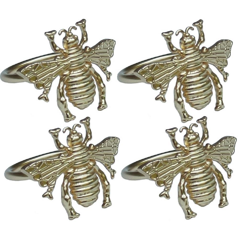 Bourdon Elegant Gold Metal Napkin Rings (Set of 4)