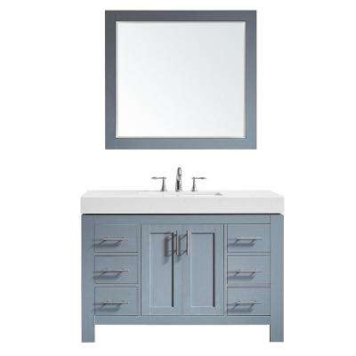 Essex 48 in. W x 22 in. D Bath Vanity in Grey with Quartz Vanity Top in White with White Basin and Mirror