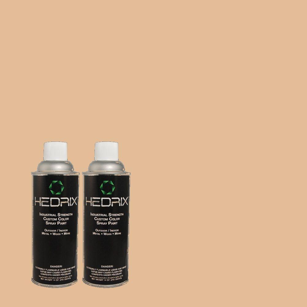 Hedrix 11 oz. Match of PPU3-9 Pumpkin Cream Flat Custom Spray Paint (2-Pack)
