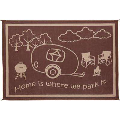 8 ft. x 18 ft. - Brown/Beige Reversible Mat for RV Home