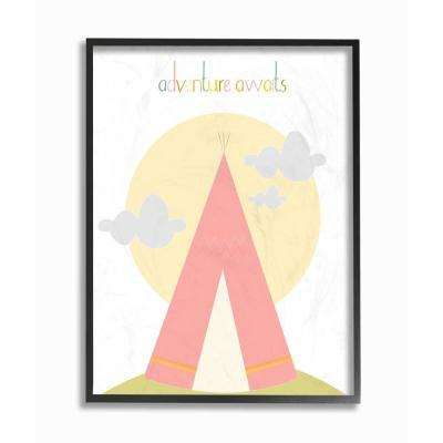 "16 in. x 20 in. ""Adventure Awaits Tee Pee in Pink"" by Karen Zukowski (Finny and Zook) Printed Framed Wall Art"