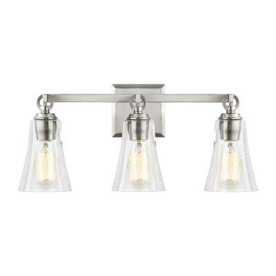 Monterro 21.75 in. W. 3-Light Satin Nickel Vanity Light with Clear Seeded Glass Shades
