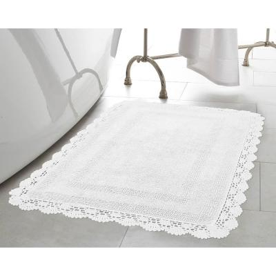 Crochet 100% Cotton 24 in. x 40 in. Bath Rug in White