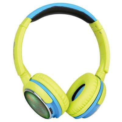 KB300 Kid Safe 85DB Over-the-Ear Wireless Bluetooth LED Headphone Volume Limiter, Built-in Microphone, Micro SD (Green)