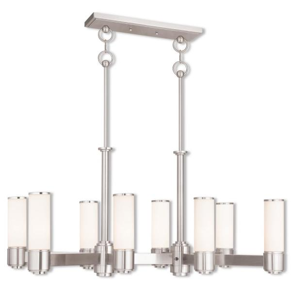 Weston 10-Light Brushed Nickel Linear Chandelier with Hand Blown Satin Opal White Glass Shade