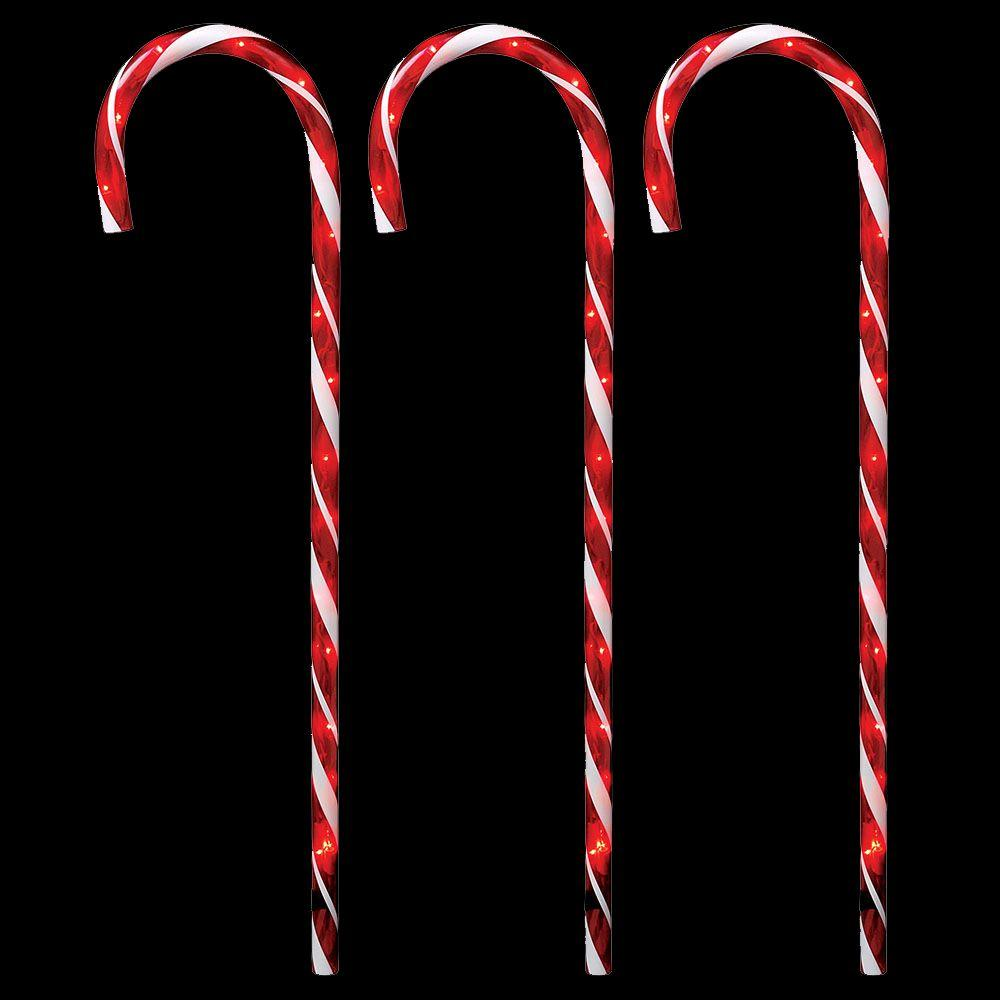 Home Accents Holiday 27 In Lighted Candy Canes Set Of 3