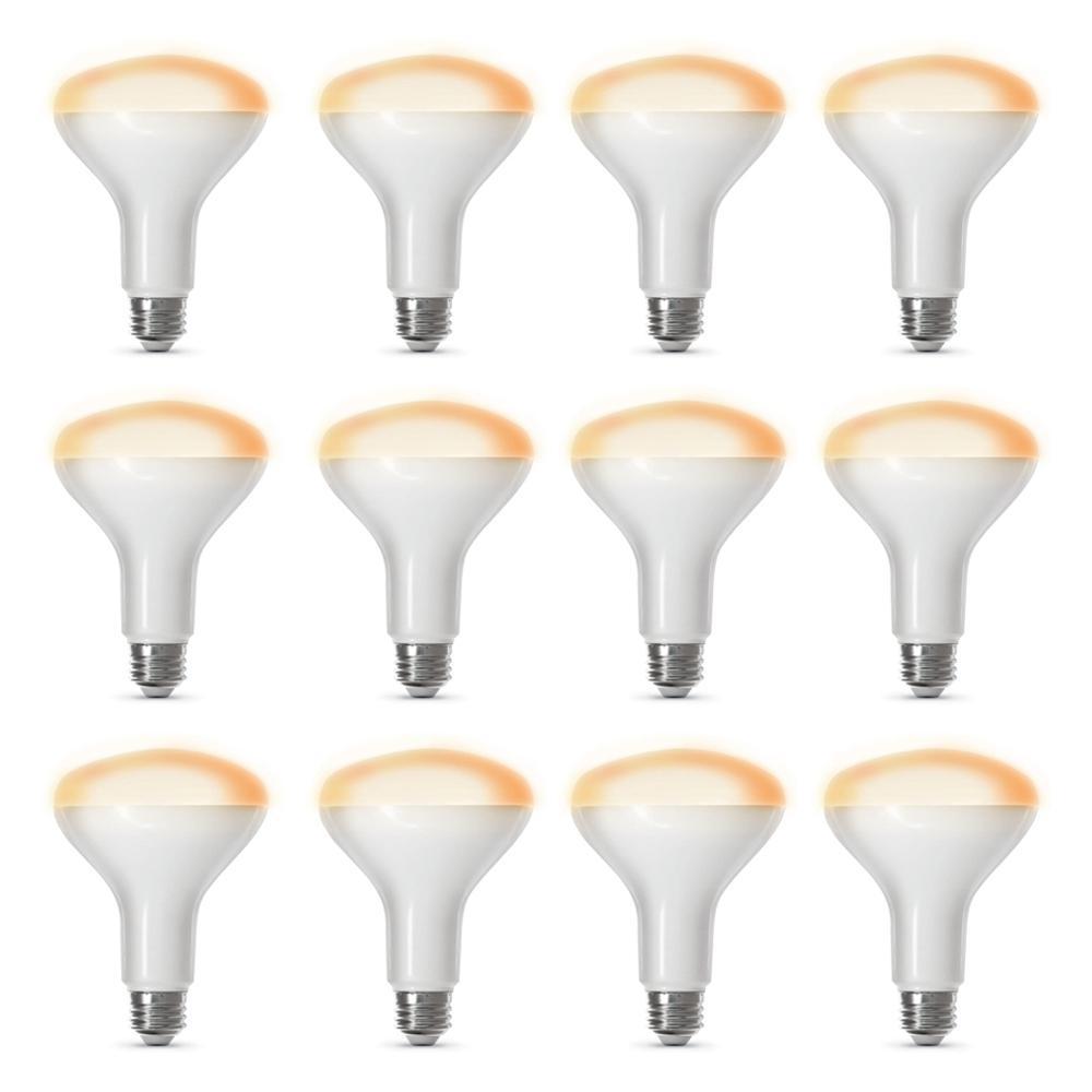 65-Watt Equivalent Soft White (2700K) BR30 Dimmable Wi-Fi LED Smart Light Bulb (12-Pack)