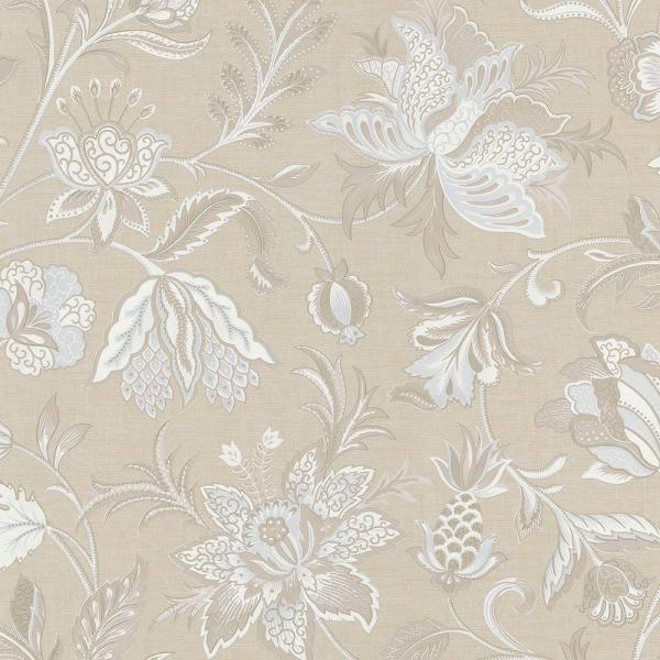 Brewster Hollie Blue Jacobean Wallpaper Sample 2686-58620SAM
