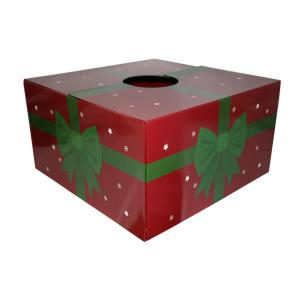 20 inch Red with Green Ribbon Original Christmas Tree Skirt Box by