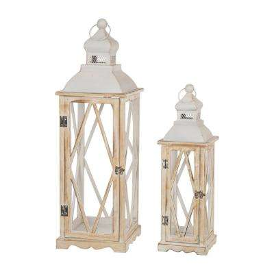 Whitewash Wood Lantern With Metal Lid, Set of 2
