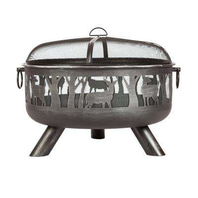 Yukon 33 in. x 23 in. Round Steel Wood Burning Fire Pit in Brushed Pewter with Fire Tool