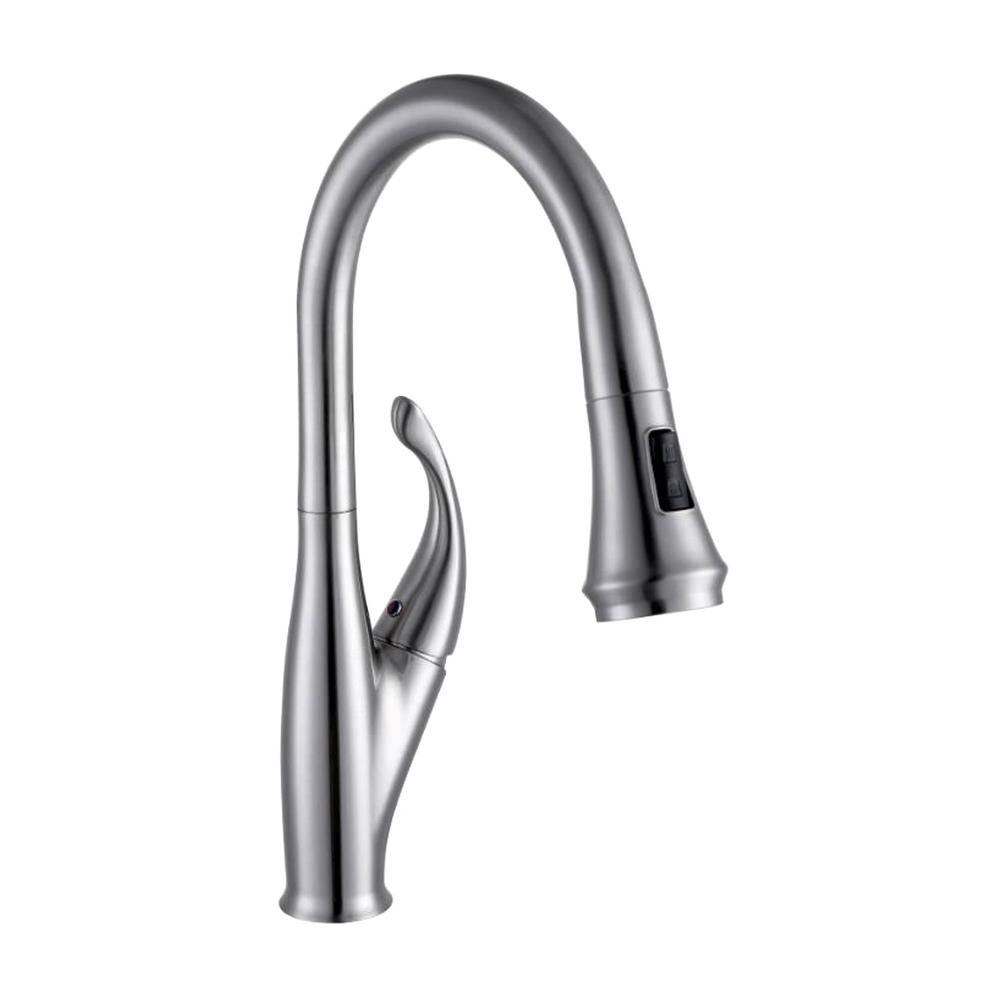 Vanity Art 9.68 in. Single-Handle Pull-Down Sprayer Kitchen Faucet in Chrome, Polished Chrome was $111.0 now $77.7 (30.0% off)