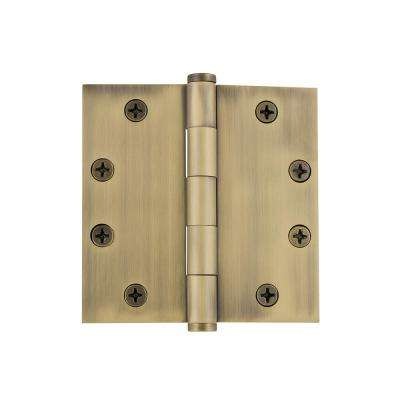 4.5 in. Button Tip Heavy-Duty Hinge with Square Corners in Vintage Brass