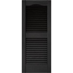 Builders Edge 15 in. x 39 in. Louvered Vinyl Exterior Shutters ...