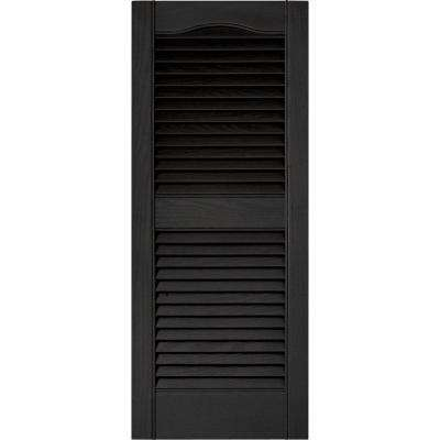 15 in. x 36 in. Louvered Vinyl Exterior Shutters Pair in #002 Black