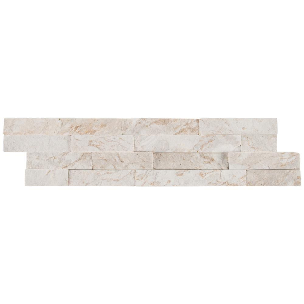 MSI Royal White Split Face Ledger Panel 6 in. x 24 in. Natural Quartzite Wall Tile (10 cases / 60 sq. ft. / pallet)