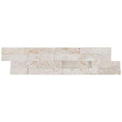 Royal White Splitface Ledger Panel 6 in. x 24 in. Natural Quartzite Wall Tile (10 cases / 60 sq. ft. / pallet)