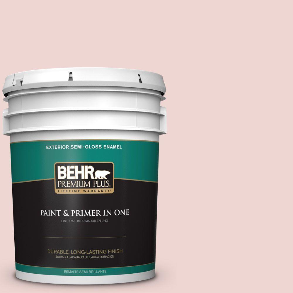 BEHR Premium Plus 5-gal. #150E-1 Delicate Blush Semi-Gloss Enamel Exterior Paint