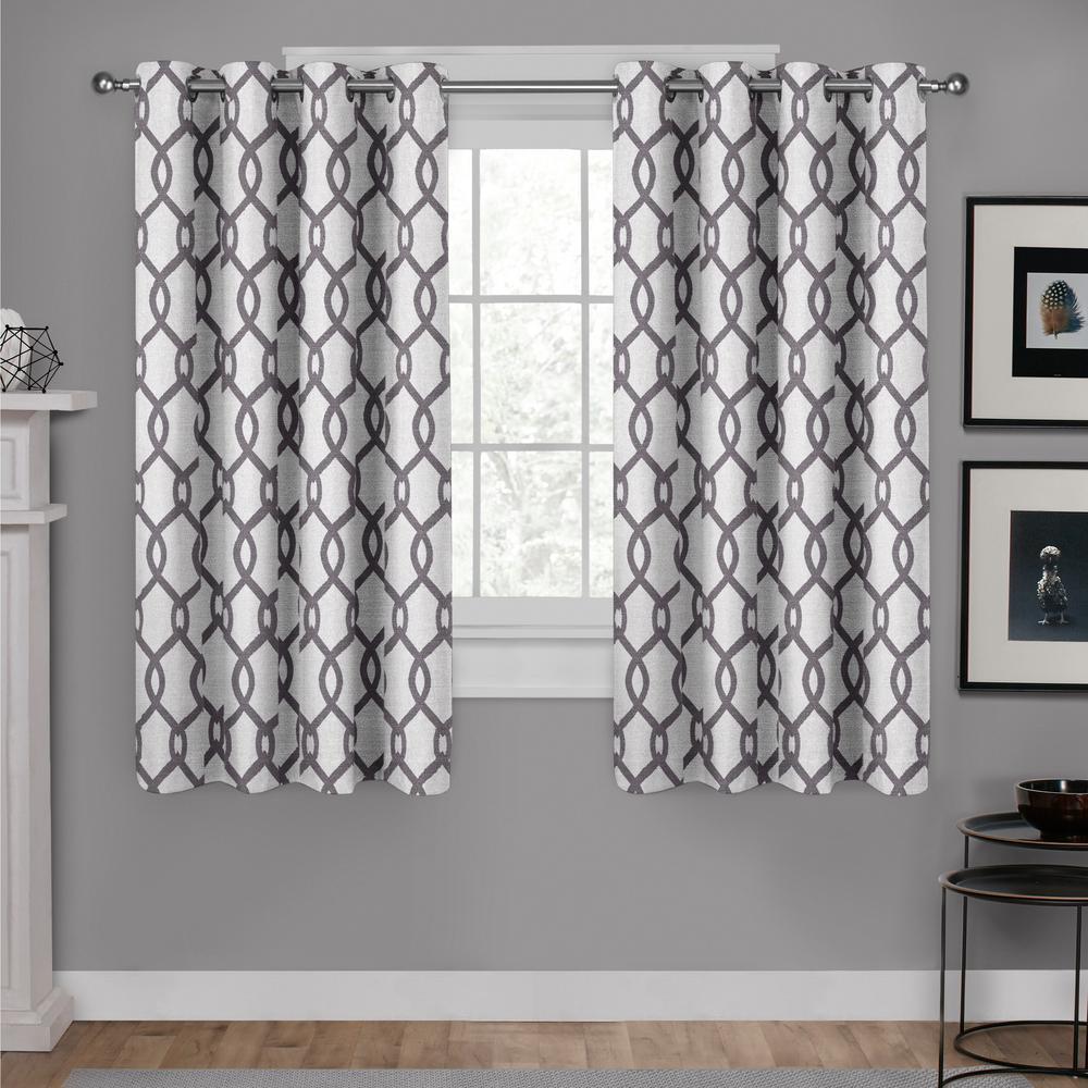 Kochi 54 in. W x 63 in. L Linen Blend Grommet Top Curtain Panel in Black Pearl (2 Panels)