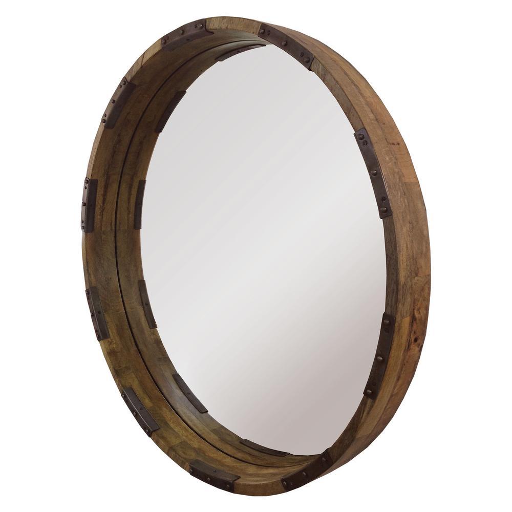 Medium Round Mango With Metal Accents Modern Mirror (30 in. H x 30 in. W)