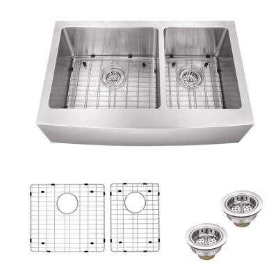 Apron Front 33 in. 16-Gauge Stainless Steel Double Bowl Kitchen Sink in Brushed Stainless