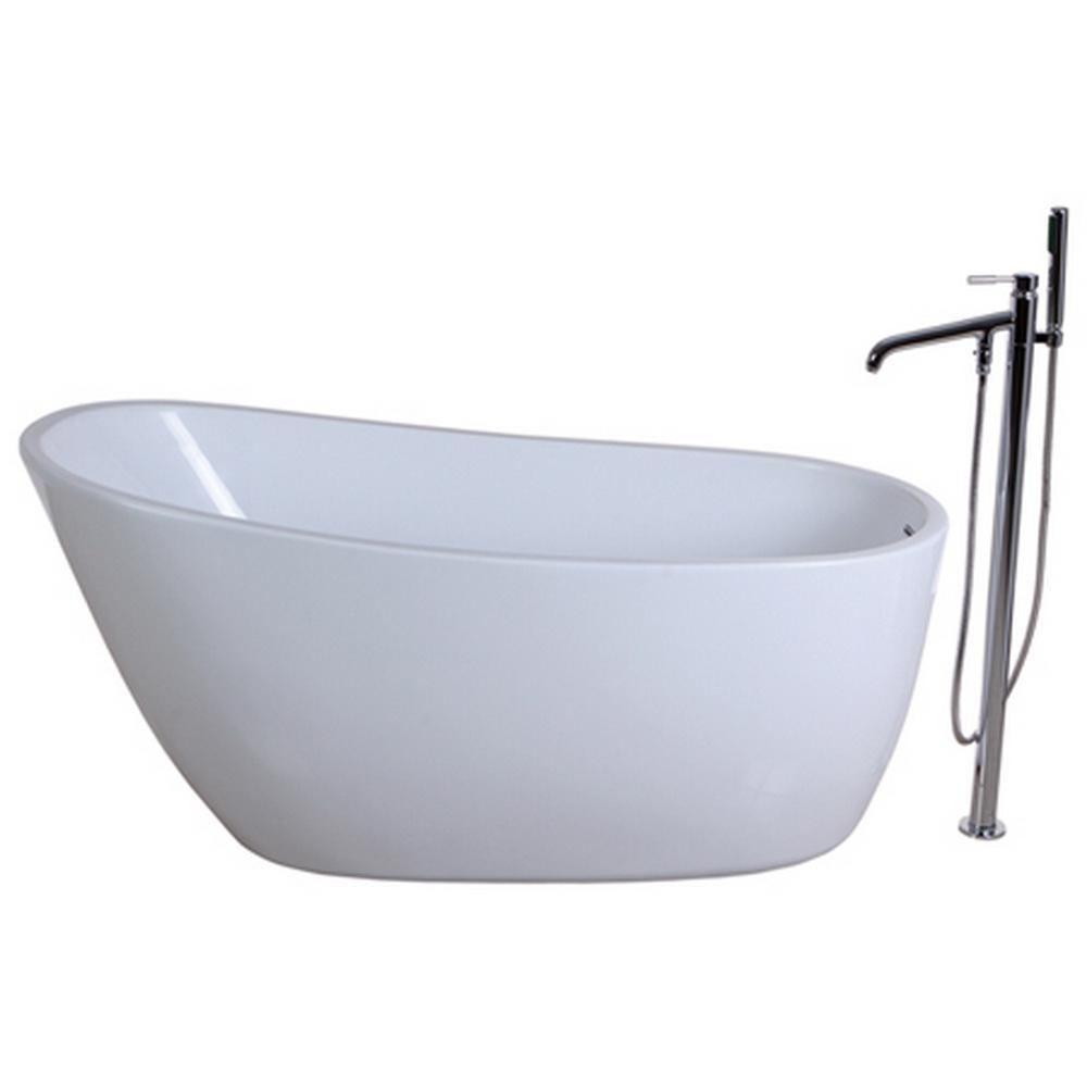 Aqua Eden Fusion 4.9 ft. Acrylic Flatbottom Bathtub in White and ...