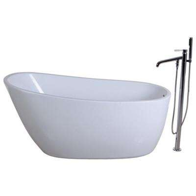 Fusion 4.9 ft. Acrylic Flatbottom Bathtub in White and Freestanding Faucet in Chrome