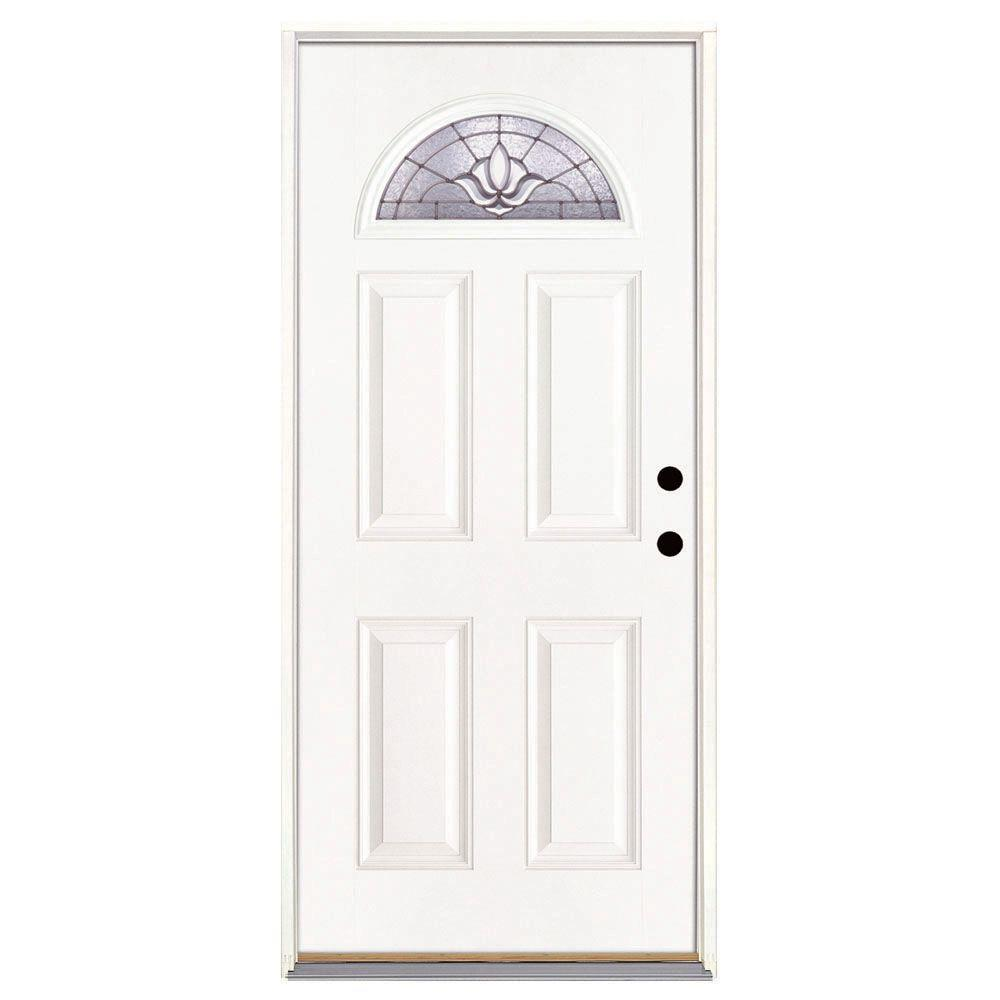 Feather River Doors 37.5 in. x 81.625 in. Medina Zinc Fan Lite Unfinished Smooth Left-Hand Inswing Fiberglass Prehung Front Door