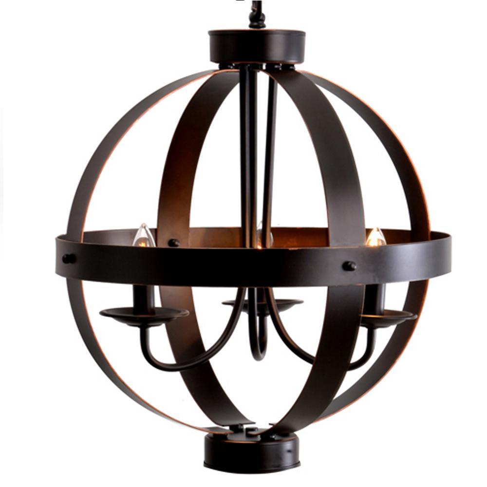 3-Light Bronze Metal Orb Pendant