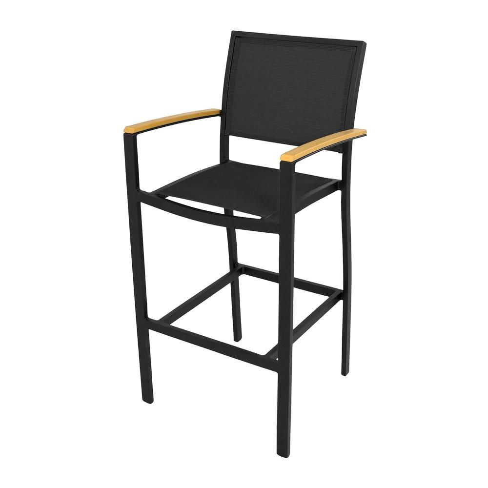 Bayline Textured Black/Plastique/Black Sling Patio Bar Arm Chair