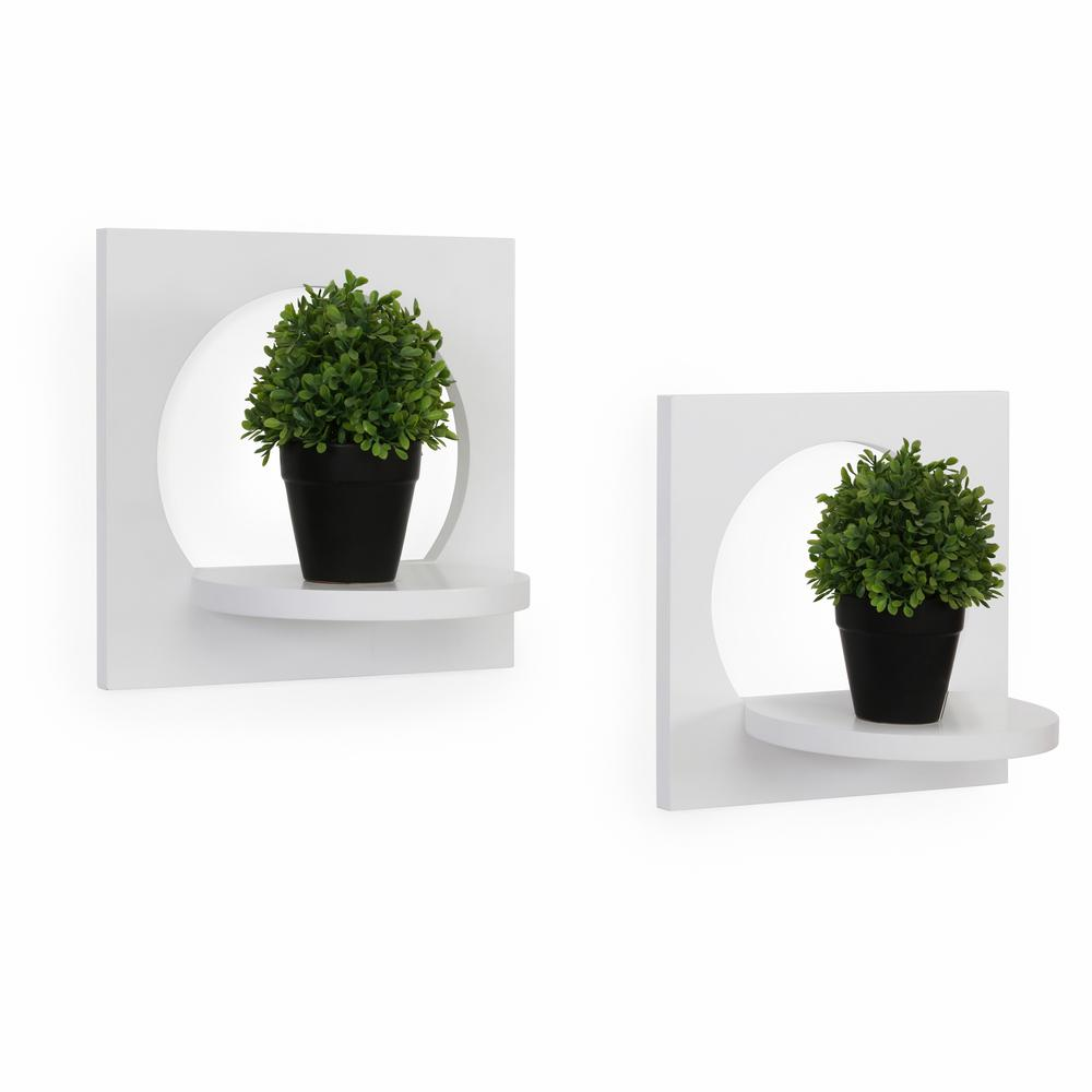 Silhouette 12 in. x 8 in. White Round Decorative Shelves (Set