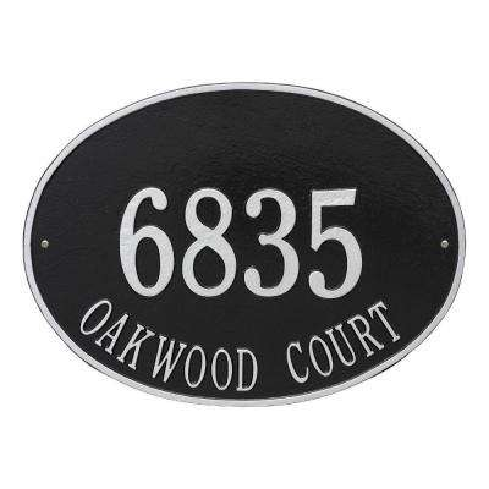 Hawthorne Estate Oval Black/Silver Wall 2-Line Address Plaque