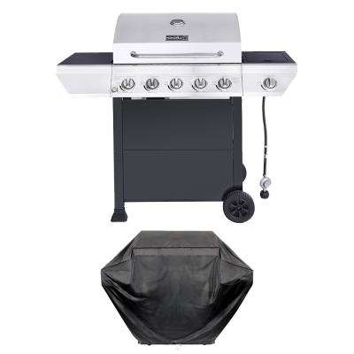 5-Burner Propane Gas Grill in Stainless Steel with Side Burner and Black Cabinet Plus Grill Cover