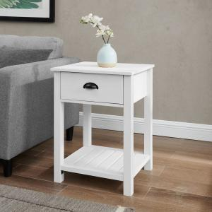 18 in. 1-Drawer Country Side Table - Brushed White