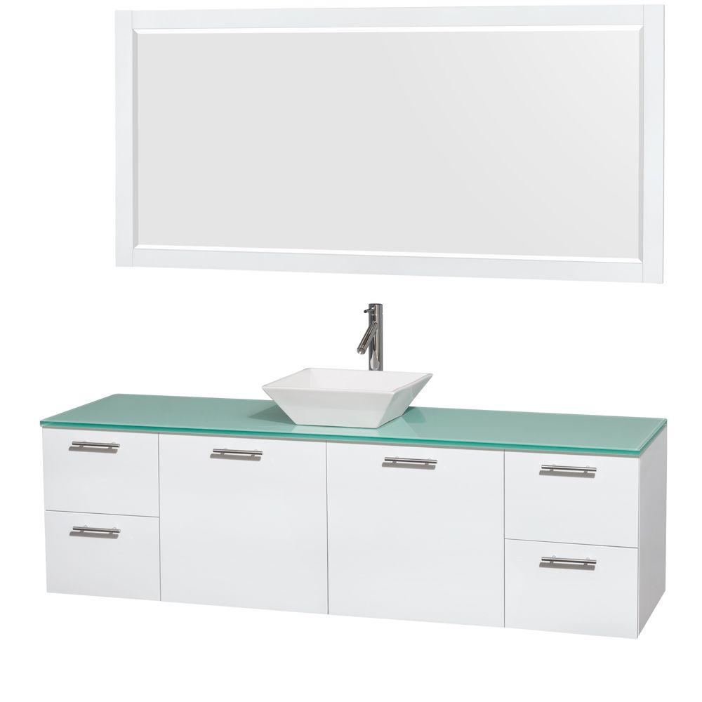 Wyndham Collection Amare 72 in. Vanity in Glossy White with Glass Vanity Top in Green, Porcelain Sink and 70 in. Mirror