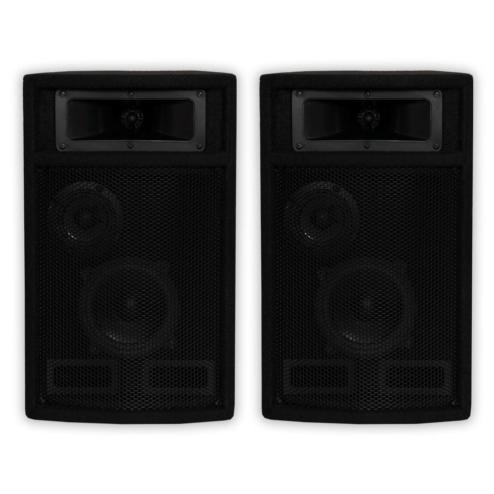 Passive 800W 3 Way DJ PA Studio Speaker Pair, Black These Acoustic Audio passive speakers are designed for use in both professional audio and home audio entertainment applications. They are the perfect complement to any PA system, studio monitor, home theater system or other audio application requiring powerful and professional grade sound quality. These speakers are perfect PA, musicians, DJ's, rental companies and many fixed installations including houses of worship, theaters, music halls, meeting rooms, amusement parks, hotels, stadiums, nightclubs and auditoriums. Color: Black.