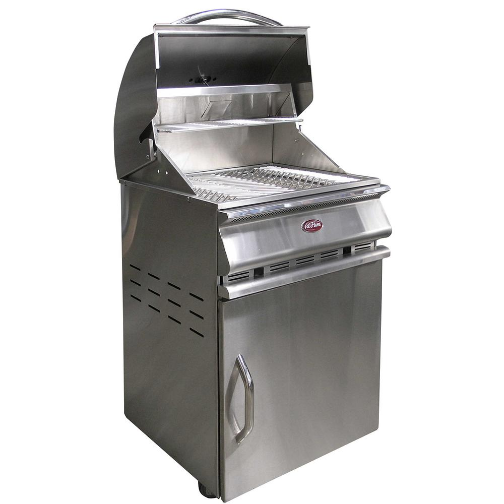 Cal Flame Charcoal Grill Cart in Stainless Steel